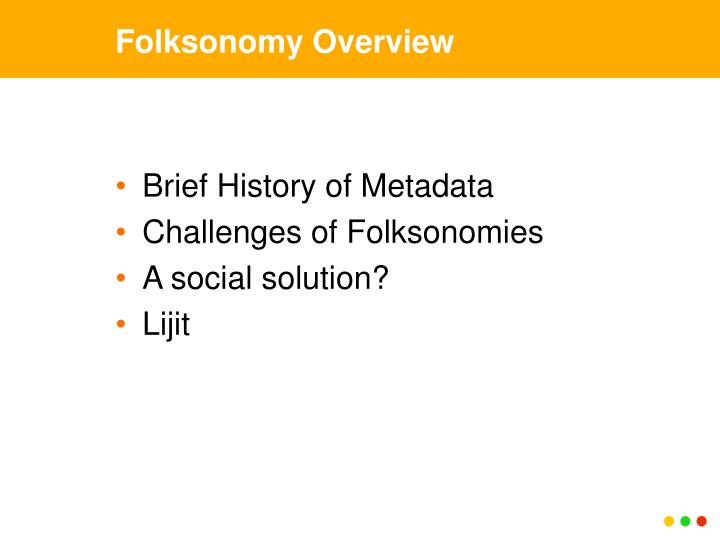 Folksonomy overview