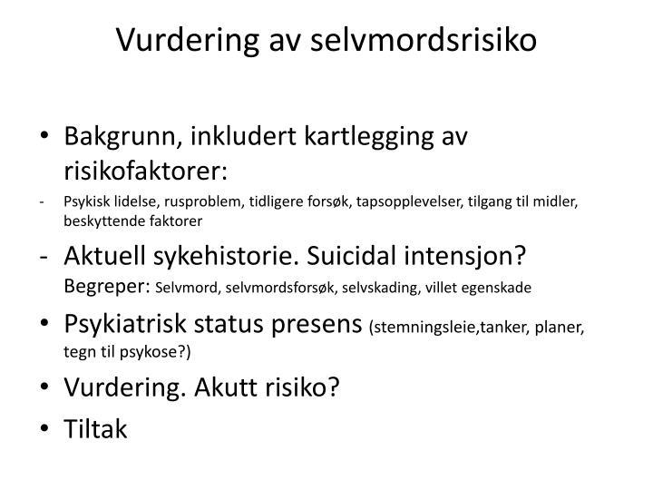 Vurdering av selvmordsrisiko