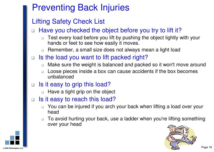 Preventing Back Injuries