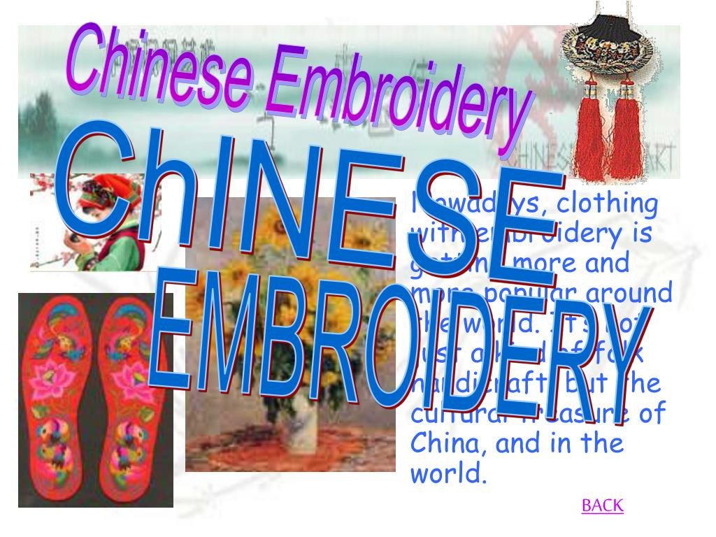 Nowadays, clothing with embroidery is getting more and more popular around the world. It's not just a kind of folk handicraft, but the cultural treasure of China, and in the world.