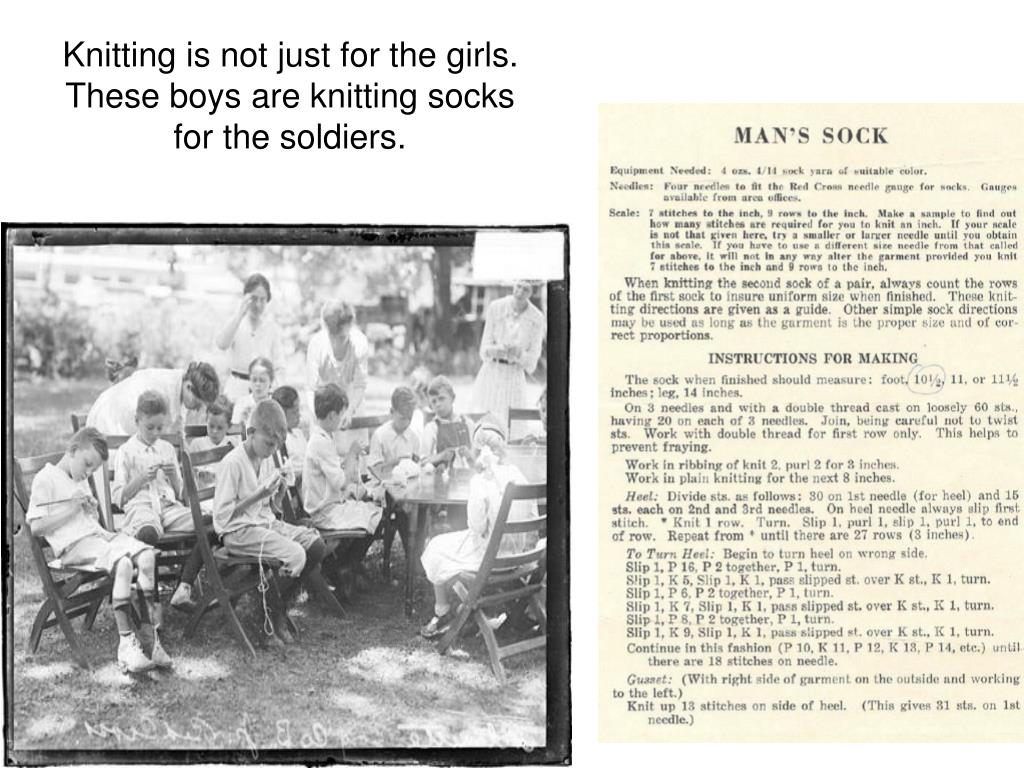Knitting is not just for the girls.  These boys are knitting socks for the soldiers.