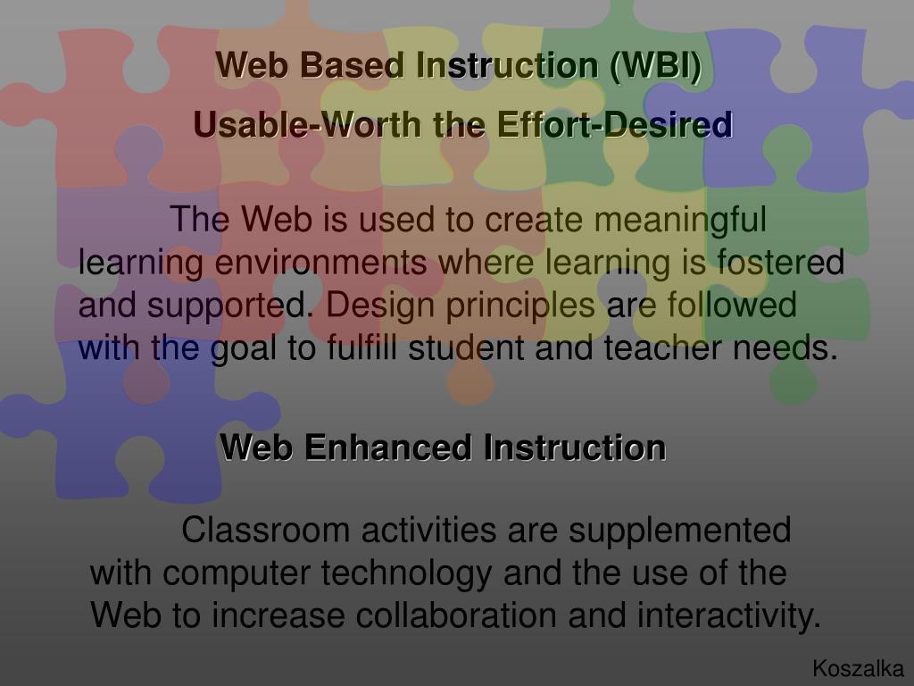 Web Based Instruction (WBI)