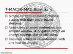 t mac s mac summary