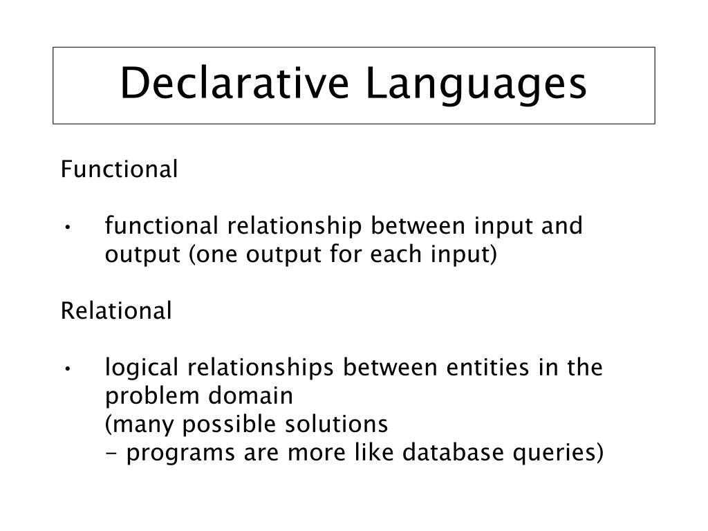 Declarative Languages