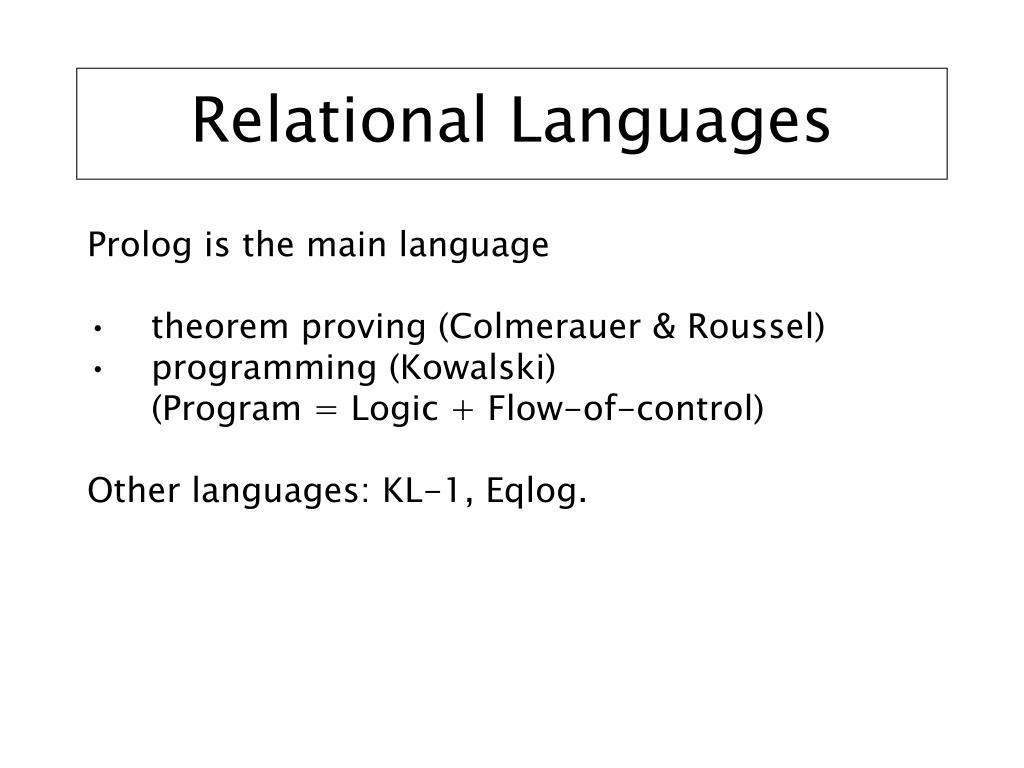 Relational Languages