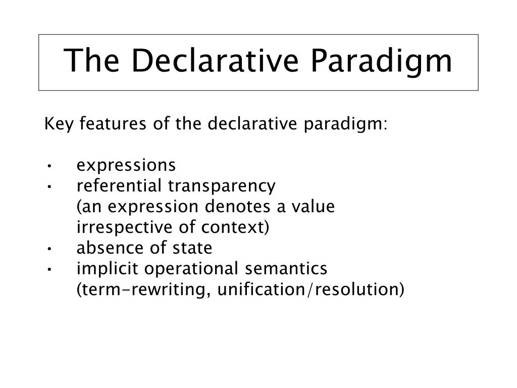 The Declarative Paradigm