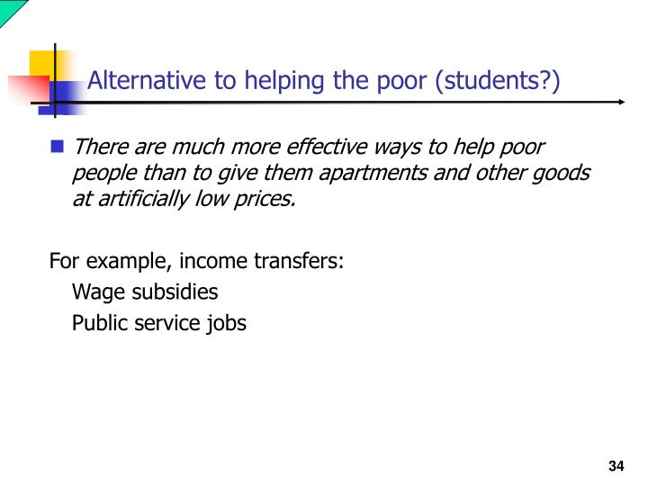 Alternative to helping the poor (students?)