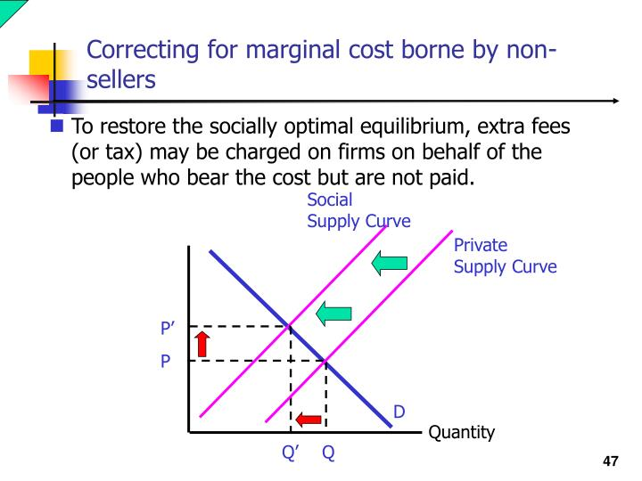 Correcting for marginal cost borne by non-sellers