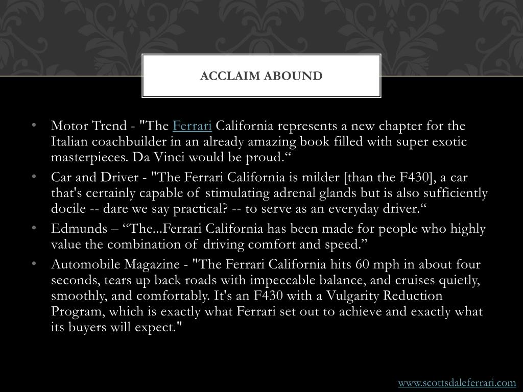Acclaim abound