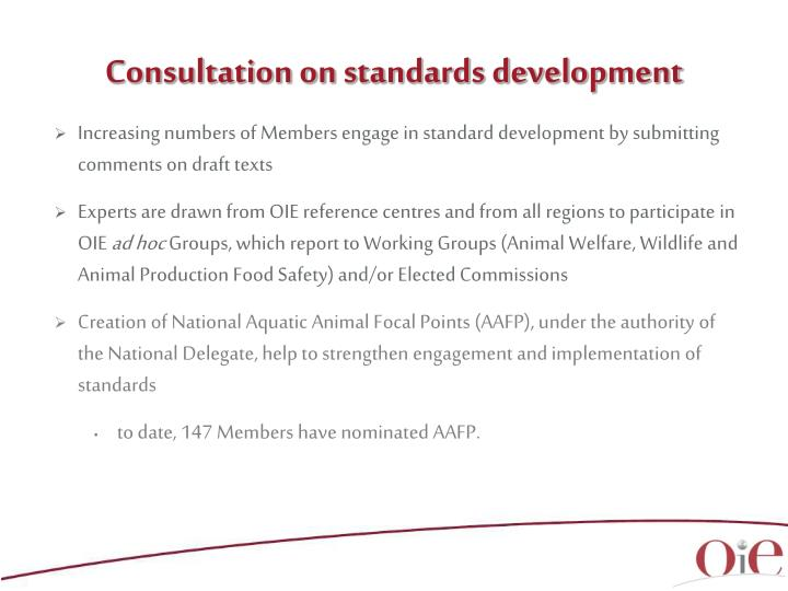Consultation on standards development