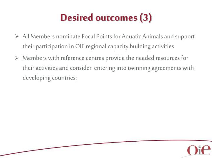 Desired outcomes (3)