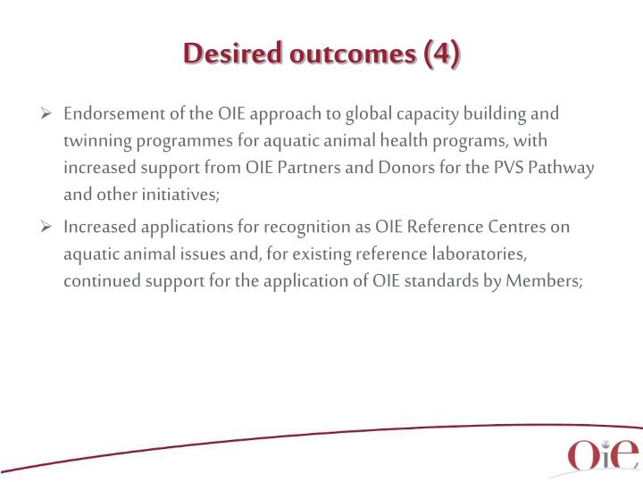 Desired outcomes (4)