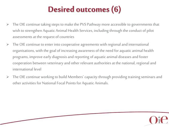 Desired outcomes (6)