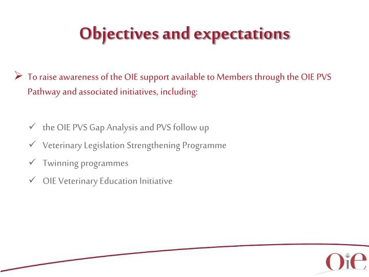 Objectives and expectations