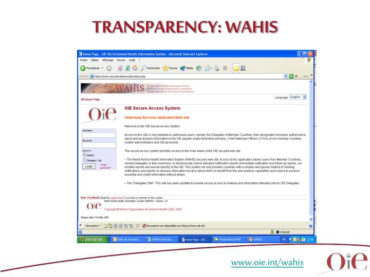 TRANSPARENCY: WAHIS
