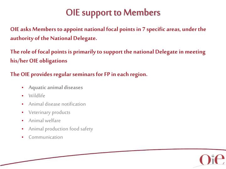 OIE support to Members
