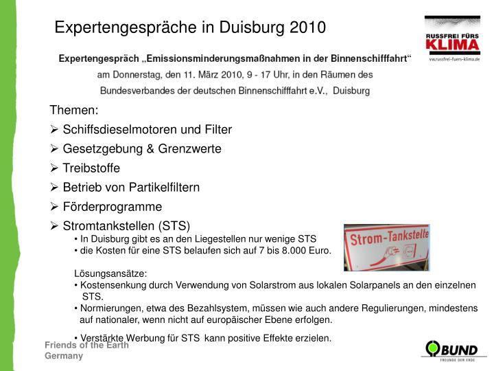 Expertengespräche in Duisburg 2010