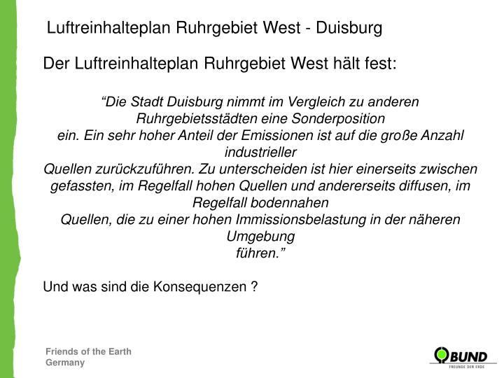 Luftreinhalteplan Ruhrgebiet West - Duisburg
