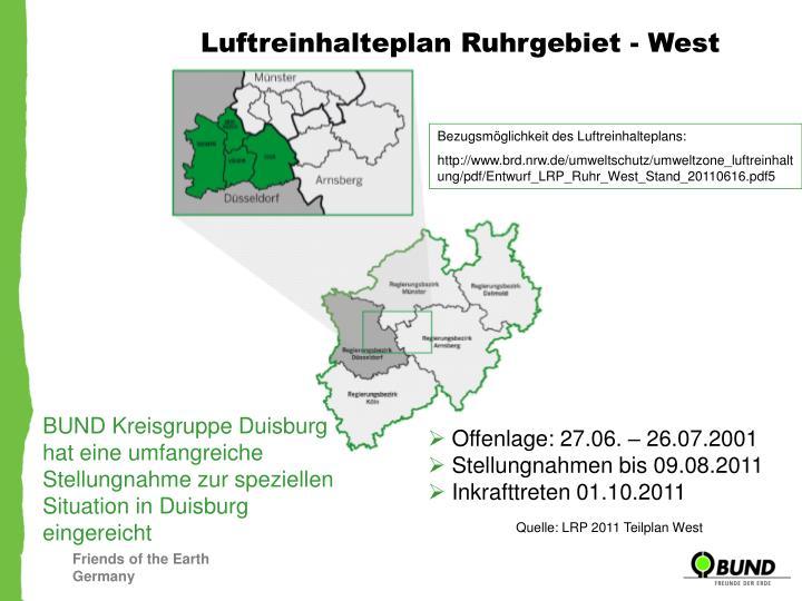 Luftreinhalteplan Ruhrgebiet - West