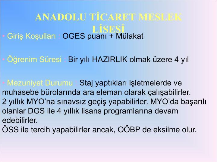 ANADOLU TİCARET MESLEK LİSESİ