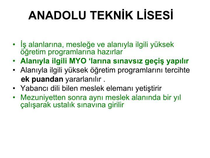 ANADOLU TEKNİK LİSESİ