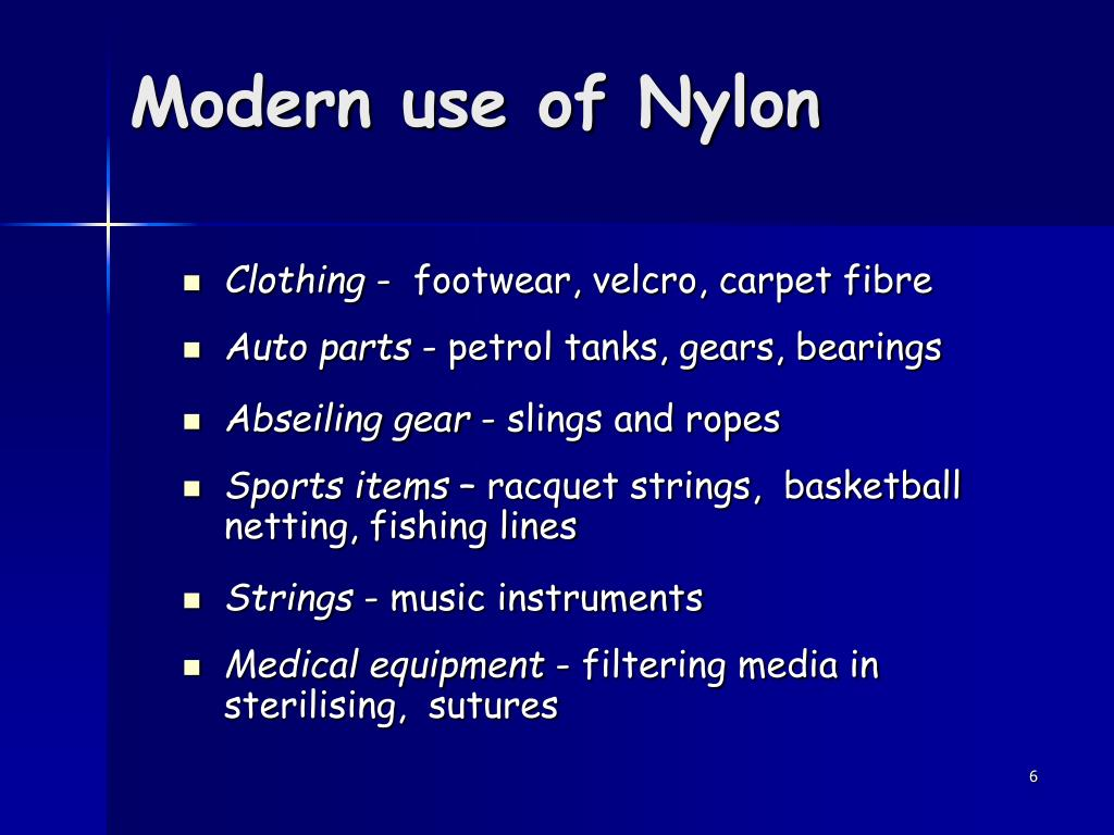Modern use of Nylon