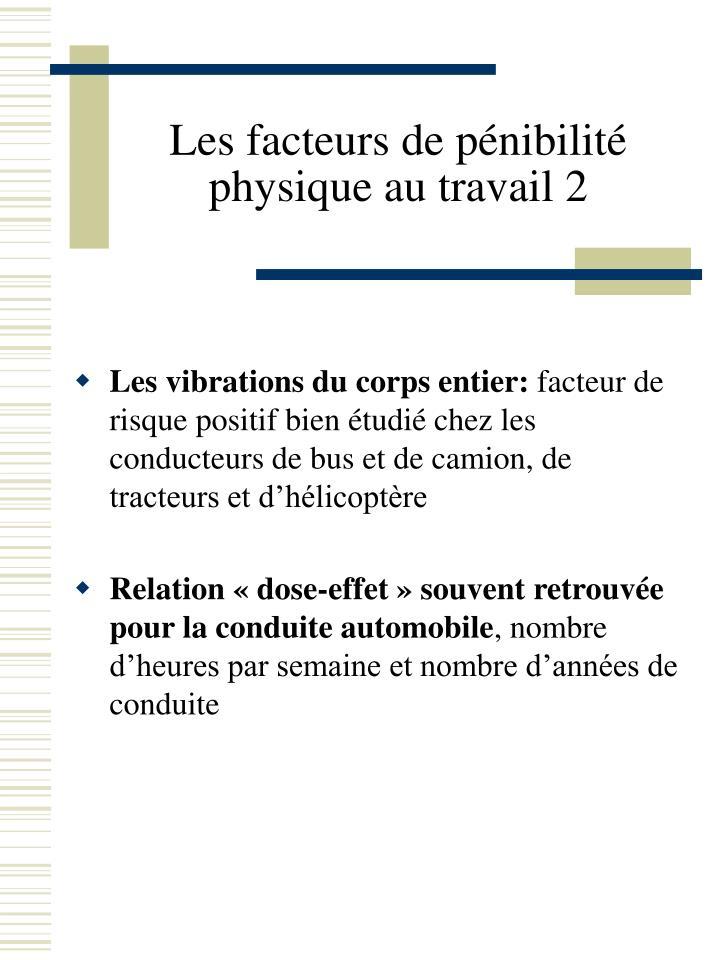 Les facteurs de pénibilité physique au travail 2