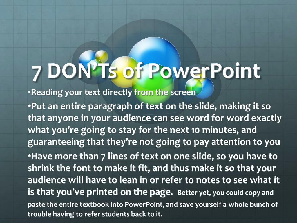 7 DON'Ts of PowerPoint