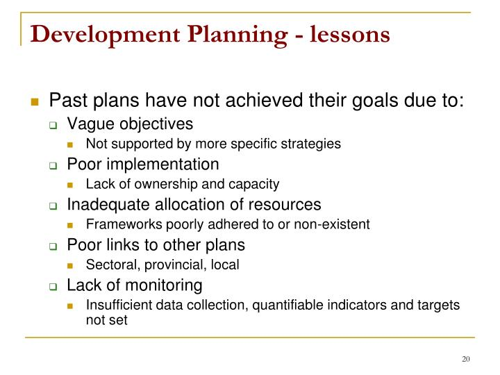Development Planning - lessons