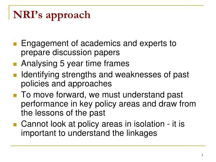 NRI's approach