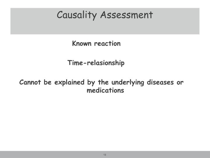 Causality Assessment