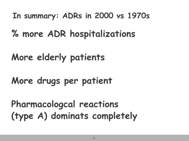 In summary: ADRs in 2000 vs 1970s