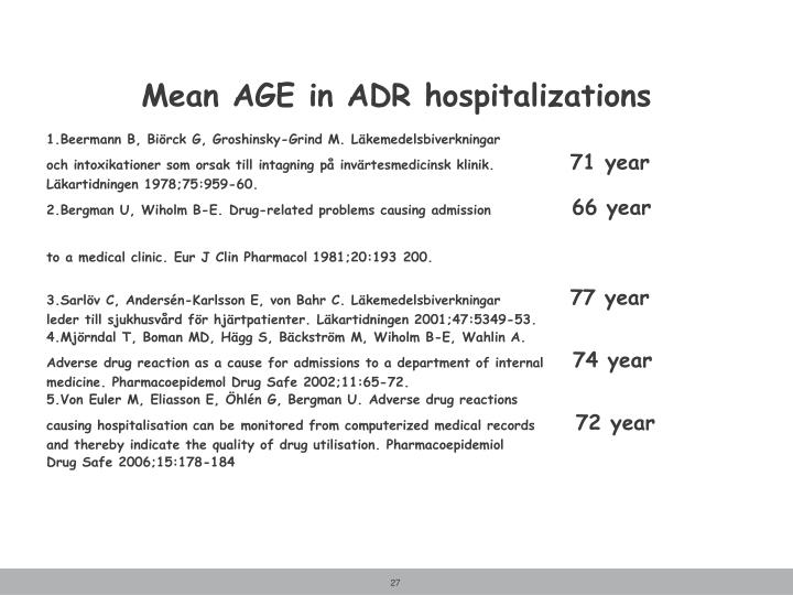 Mean AGE in ADR hospitalizations