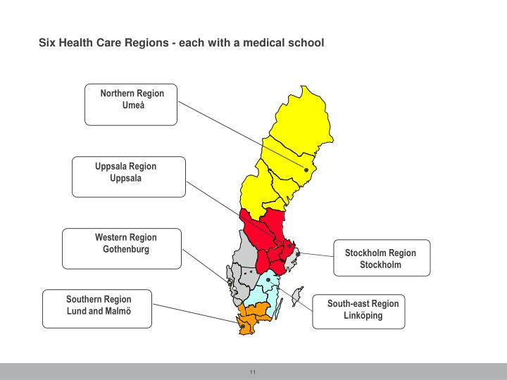 Six Health Care Regions - each with a medical school