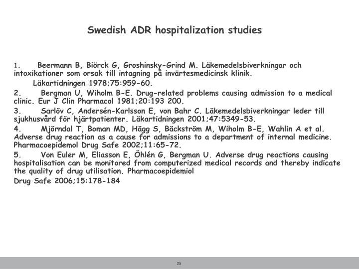 Swedish ADR hospitalization studies
