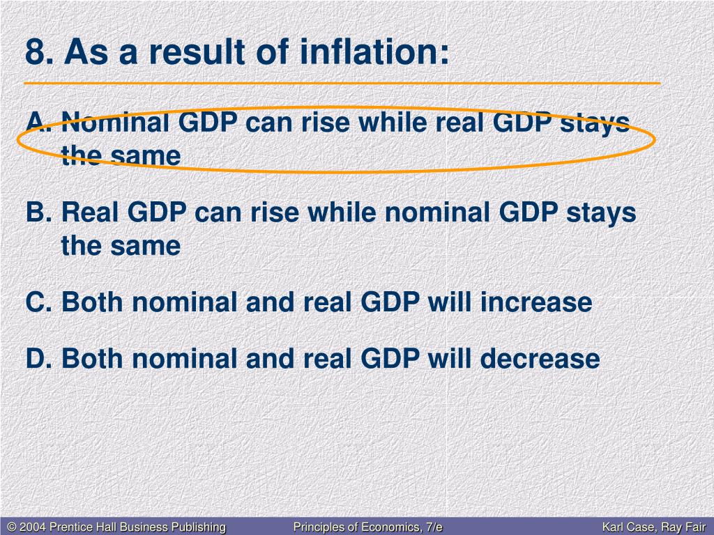8. As a result of inflation: