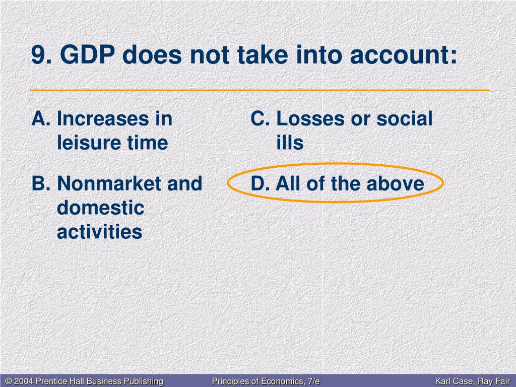 9. GDP does not take into account: