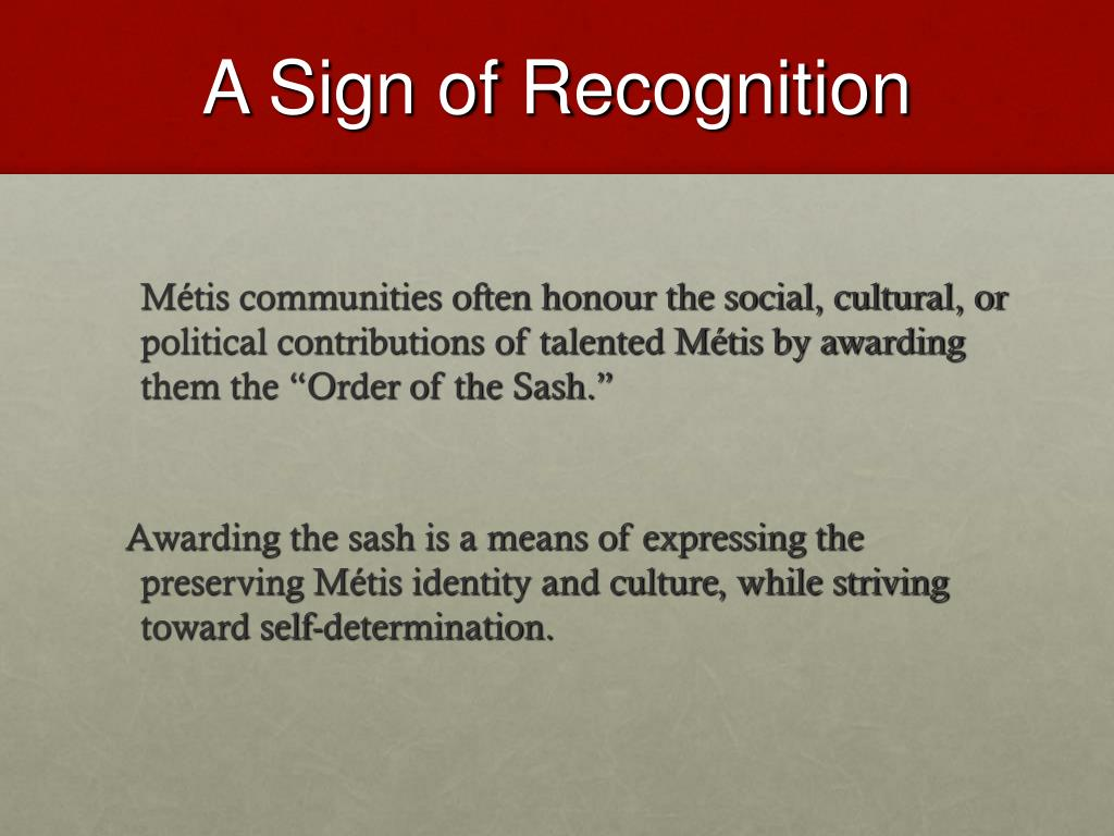 A Sign of Recognition