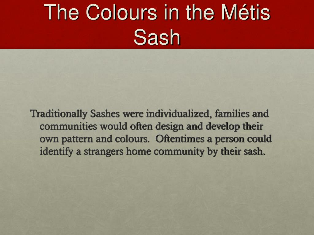 The Colours in the Métis Sash