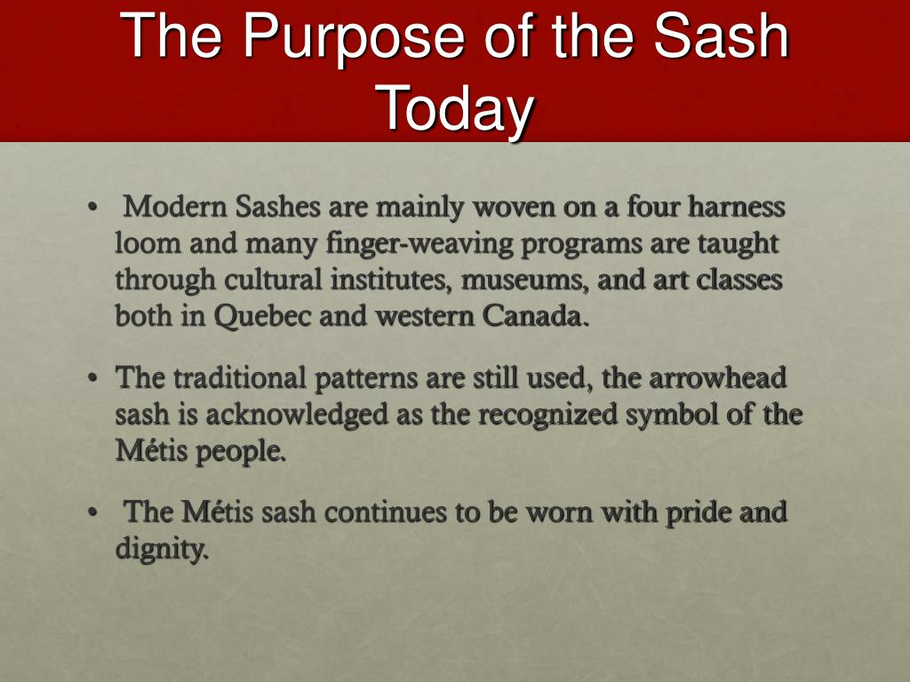 The Purpose of the Sash Today