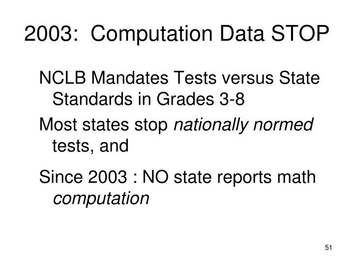 2003:  Computation Data STOP
