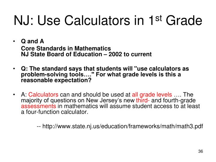 NJ: Use Calculators in 1