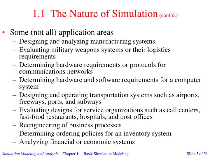 1.1  The Nature of Simulation