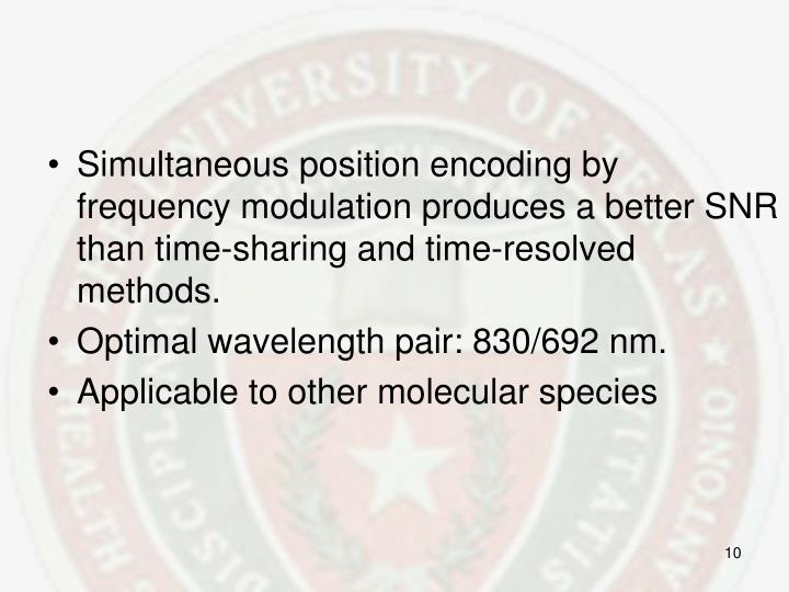 Simultaneous position encoding by frequency modulation produces a better SNR than time-sharing and time-resolved methods.