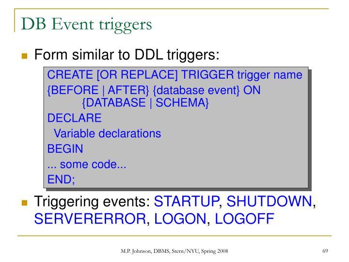 DB Event triggers
