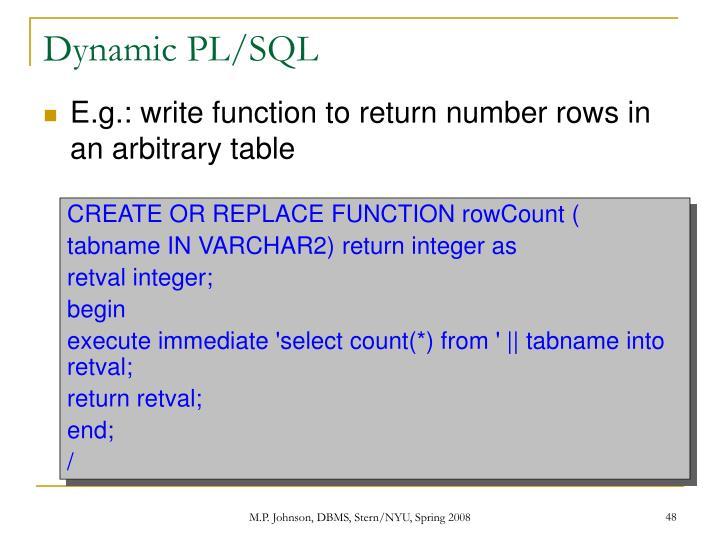Dynamic PL/SQL