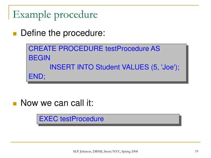 Example procedure
