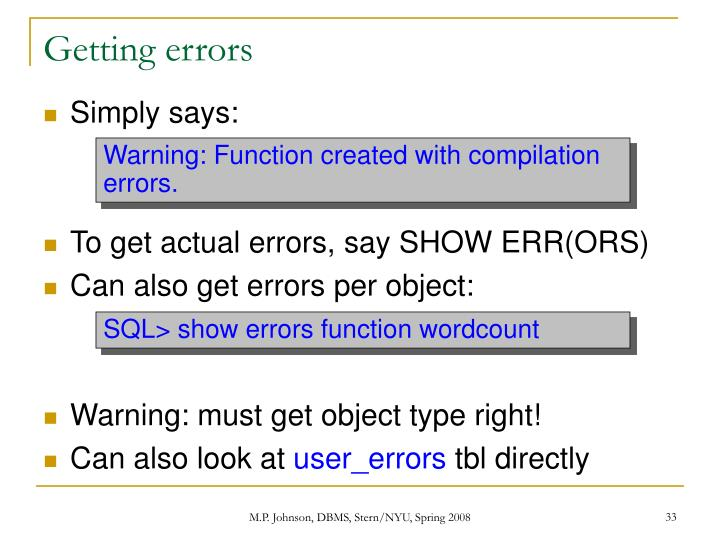Getting errors