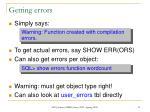 getting errors