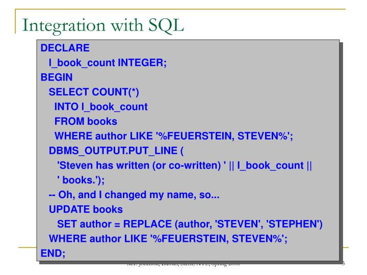 Integration with SQL